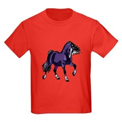 Fantasy Horse Purple Kids Dark T-Shirt