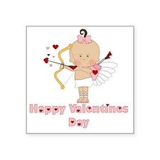 "Happy Valentines Day (Girl  Square Sticker 3"" x 3"""