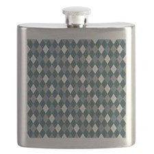 Blue Gray Argyle Flask