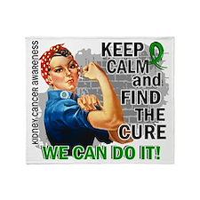D Rosie Keep Calm Kidney Cancer Gree Throw Blanket