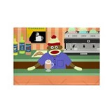 Sock Monkey Coffee Shop Barista Rectangle Magnet