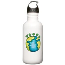 Peas on Earth (dark) Sports Water Bottle
