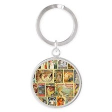 Art Nouveau Advertisements Collage Round Keychain