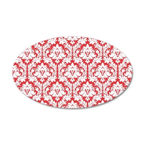 Poppy Red Damask 35x21 Oval Wall Decal