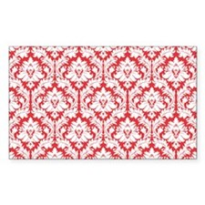 Poppy Red Damask Decal