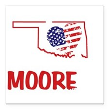 "I Love U Moore OK Twiste Square Car Magnet 3"" x 3"""
