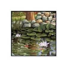 """Fish among the lilies Square Sticker 3"""" x 3"""""""