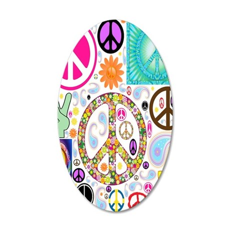 Peace  Paisley Collage FF 35x21 Oval Wall Decal