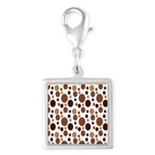 Brown Bubbles FF Silver Square Charm