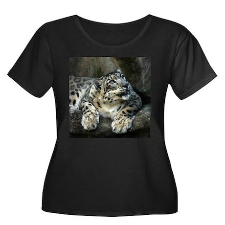 Snow Leopard Women's Plus Size Scoop Neck Dark T-S