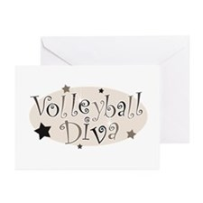"""""""Volleyball Diva"""" [brown] Greeting Cards (Package"""