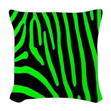 Lime Zebra Stripes Woven Throw Pillow