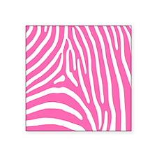"""Hot Pink and White Zebra St Square Sticker 3"""" x 3"""""""