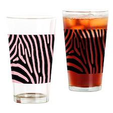 Pink Zebra Stripes Drinking Glass