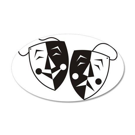 Comedy and Tragedy Masks 35x21 Oval Wall Decal