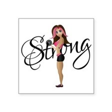 "Strong Fit Girl Square Sticker 3"" x 3"""