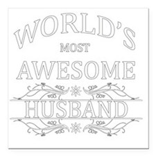 "husband Square Car Magnet 3"" x 3"""