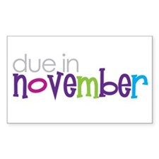 due in november Rectangle Decal