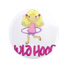 "Hula Hoop Girl -Pink- 3.5"" Button"