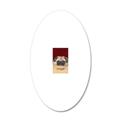 Adorable iSnuggle Pug Puppy 20x12 Oval Wall Decal