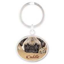 Adorable iCuddle Pug Puppy Oval Keychain