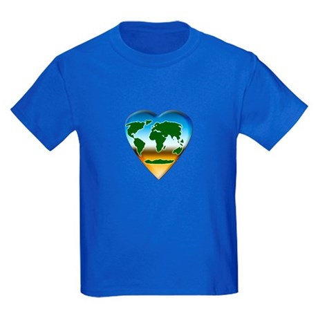 Heart-shaped Earth Kids Dark T-Shirt
