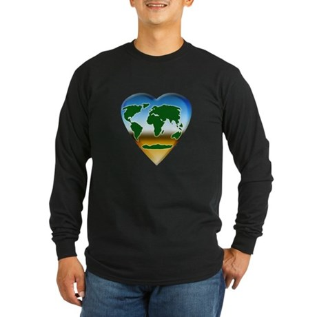 Heart-shaped Earth Long Sleeve Dark T-Shirt