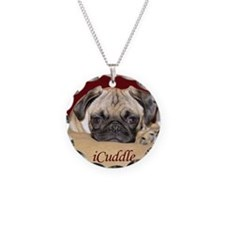 Adorable iCuddle Pug Puppy Necklace Circle Charm