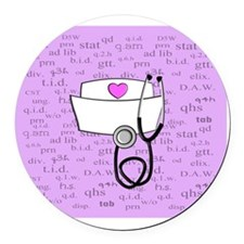 Nurse Pink Round Car Magnet