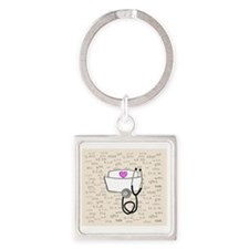 Nurse Cream Square Keychain