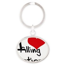 I Love Filling Stations Oval Keychain