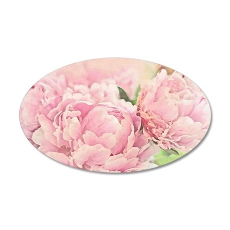 Pink Peonies 35x21 Oval Wall Decal
