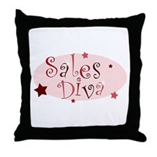 """Sales Diva"" [red] Throw Pillow"