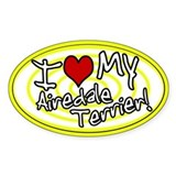 Hypno I Love My Airedale Oval Sticker Ylw