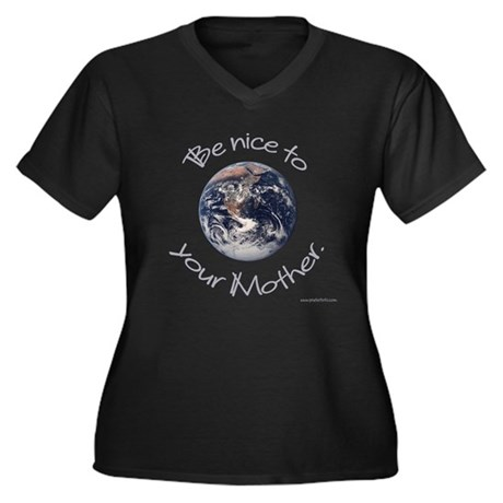 Be Nice Women's Plus Size V-Neck Dark T-Shirt