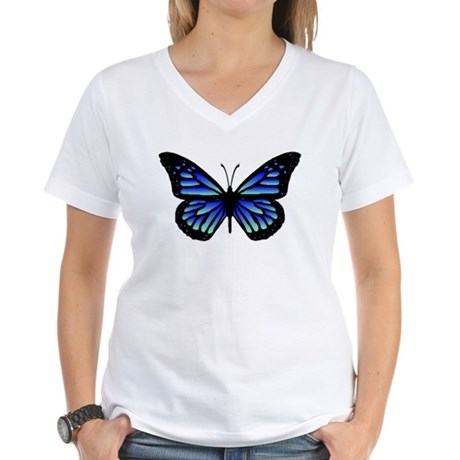 Blue Butterfly Women's V-Neck T-Shirt