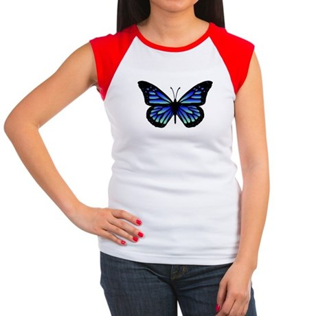 Blue Butterfly Women's Cap Sleeve T-Shirt