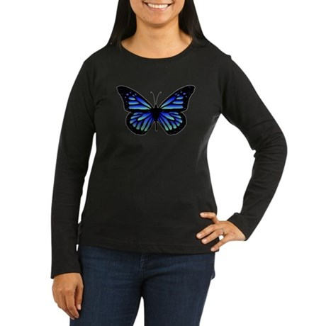 Blue Butterfly Women's Long Sleeve Dark T-Shirt