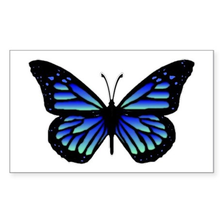 Blue Butterfly Rectangle Sticker