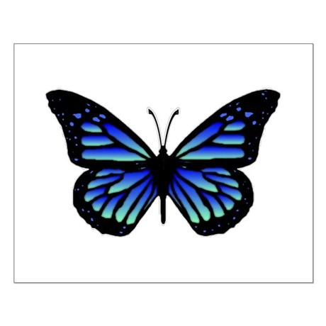 Blue Butterfly Small Poster