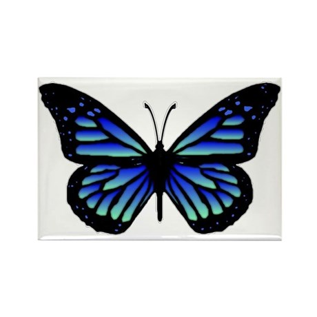 Blue Butterfly Rectangle Magnet (100 pack)
