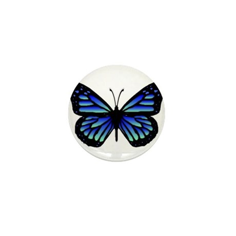 Blue Butterfly Mini Button