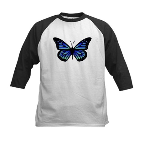 Blue Butterfly Kids Baseball Jersey