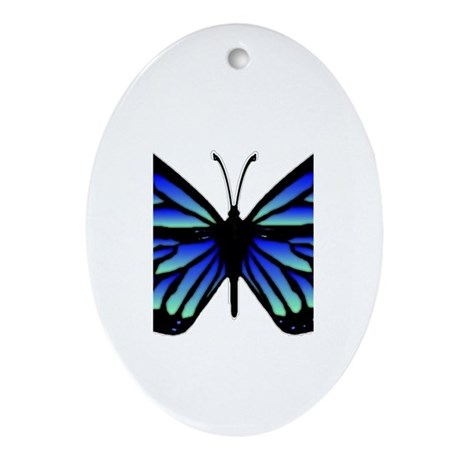 Blue Butterfly Oval Ornament