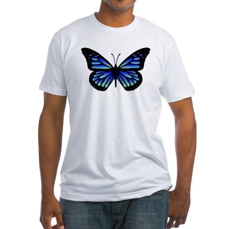 Blue Butterfly Fitted T-Shirt