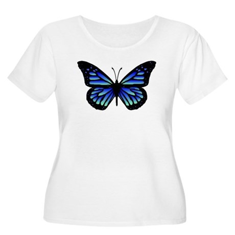 Blue Butterfly Women's Plus Size Scoop Neck T-Shir