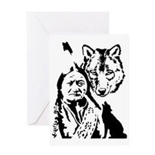 Indian and wolf Greeting Card