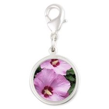 Pink Rose of Sharon Silver Round Charm