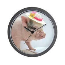 Micro pig with Summer Hat Wall Clock