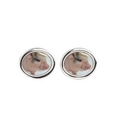 Micro pig with Summer Hat Cufflinks